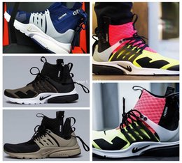 Wholesale 2017 New Air Presto MID White Black Hot Lava Medium Olive Mens Running Shoes High Quality Men Sport Trainers Athletic Sneakers Black Bamboo
