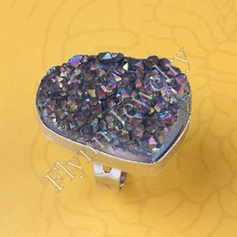 Different Natural Stone White Crystal Geode Druzy Plating Color Adjustable Rings Charms Punk European Fashion Jewelry 10Pcs