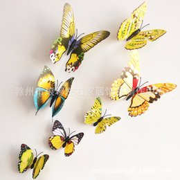 Wholesale 12 stereoscopic d butterfly decoration home decorations wall stickers bedroom TV background wall with glue magnets section