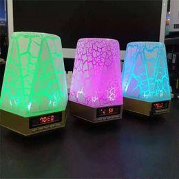 Wholesale Magic Bluetooth Speaker Crack Pattern Diamond Design Bluetooth Outdoor Speakers Mini Speaker Support TF Card FM Radio With LCD Light