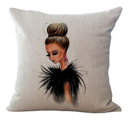 Black leather coat big earrings sexy girl Bedding Massager Decorative Pillows Case Cover Vintage Massage Decorative Pillows Case Cover Gift