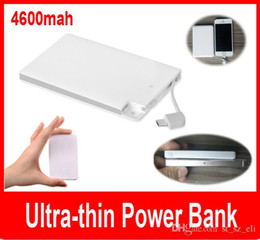 Wholesale 4600mAh Ultra Thin Credit Card Power Bank Fashion Easy To Carry Polymer with Built In USB Cable promotional power bank for micro usb iphone