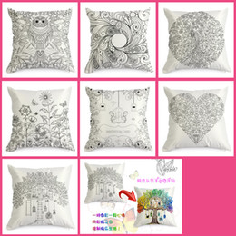 Wholesale Hand Coloring Vintage Satin Cushion Cover Graffiti Pillow Case Home Decor cm cm Black Ground Hand Drawing Cushion Cover