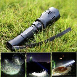 Wholesale Kamisafe KM A CREE Q5 LED Handheld Long Beam Distance Flashlight Searchlight Waterproof Outdoor Tactical Flashlight Torch with Wrist Str