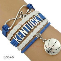 Wholesale Infinity Love Kentucky Basketball Wildcats Team Sports Charm Bracelets Blue Women Men Lady Girl Gift Jewelry Custom Any Themes Drop Shipping