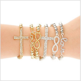 Fashion Jewelry HOT Selling Newly 18K Gold Plated Crystal Charms Bracelets For Women Resilience Infinity Bracelets Wholesaler 30pcs lot