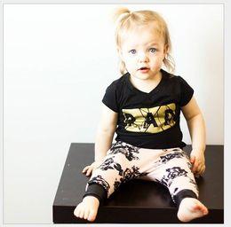 2016 Summer Baby Girl Casual Set Kids Black Short Sleeve T-shirt Tops+Pink Printing Harem Pants 2pcs Sets Children Outfits Cute Girls Suit