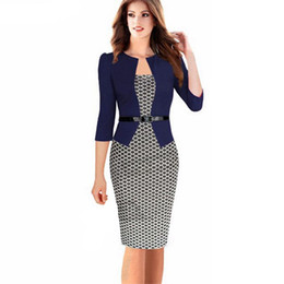 Wholesale-Fashion Women Vintage Faux Two Piece Dress Elegant Lady Plaid Long Sleeve Pencil Dress Office Wear Outfits Plus Size S122