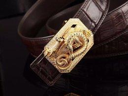 Wholesale High end leather belt handmade diamond natural diamond buckle use crocodile skin in whole belts wear so luxury men s best love