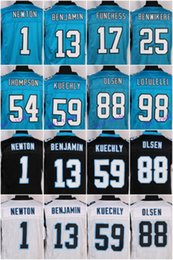 Wholesale 2016 Carolina football jersey Panthers Soccer rugby jerseys Newton Kuechly Olsen Benjamin White Black Blue freeshipping