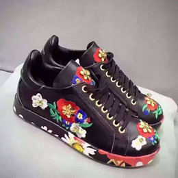 BEST QUALITY! u621 34 black white flower sequins genuine leather sneakers shoes vogue runway d casual floral