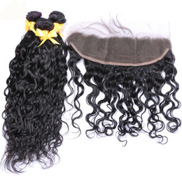 Wholesale Water Wave Hair Bundles With Ear To Ear Lace Frontal With Baby Hair Wet Wavy Human Hair Weaves Cheap Price