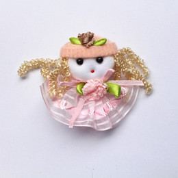 2016 new LITTLE STOCK 20pc lot Lovely Girls Pink Dress Baby Girls Hair Clips USUAL Quality Fabric Kids Peach Flower Hairpins Wholesale