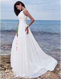New Arrival Straps A-Line White Ivory Chiffon Summer Beach Wedding Dress Bridal Gown Custom Size 2 4 6 8 10 12 14 16 18 20 22 24 26
