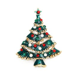Fashion Jewelry Christmas Brooch Christmas Trees Brooches Rhinestone Crystal Brooches And Pin Clothes Decor Christmas Gifts