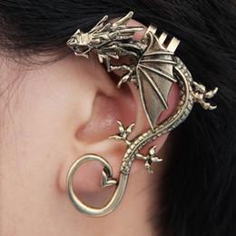 Wholesale Silver Wedding Ring Wrap - 2016 Retro Vintage Black Silver Bronze Punk Temptation Metal Dragon Bite Ear Cuff Clip Wrap Earring Earrings Ear Cuff Ear Rings Ear Clips