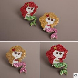 Wholesale Children s jewelry flash powder stereo mermaid shape clip out small cloth clip hairpin