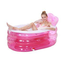 Wholesale Spa Tub Shower Tray Bidet Bathtubs cm cm cm Blue Pink Color BIg PVC Folding portable bathtub