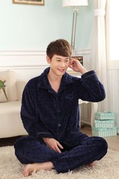 Wholesale-Fall and Winter New 2016 Mens Flannel Pajamas Sets Fashion Casual Thicken Sleepwear Velvet Mink Cashmere Mens Pajamas