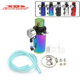 Wholesale Cool Engine - SR - ALUMINUM ENGINE RACING OIL CATCH RESERVOIR BREATHER TANK CAN WITH VACUUM PRESSURE GAUGE AND BREATHER FOAM