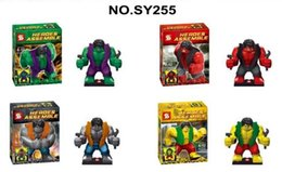 Wholesale 4PCS SY255 super hero marvel avengers BIG Hulk with GREEN GREY PURPLE RED pants figures Building bricks blocks Action baby Toy