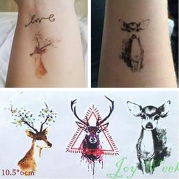 Transfert d'eau autocollants de tatouage en Ligne-Grossiste-imperméable tatouage temporaire autocollant sur le corps bucks tatouage de cerf Noël cerf tatouage tatouage faux tatouage pour les femmes fille