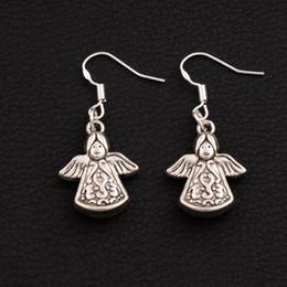 Solar Angel Praying Earrings 925 Silver Fish Ear Hook 20pairs lot Antique Silver Chandelier E213 38.1x16.3mm