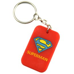 Wholesale 50PCS Lot Superman Dog Tag Keychain Silicone Key Ring Perfect To Use In Any Benefits Gift
