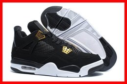 Wholesale Sports Shoes Men Cheap Prices - 2016 cheap mens air retro 4 Royalty black gold white 4s men basketball shoes sports sneakers free drop shipping discount price with box