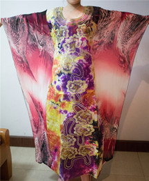 Wholesale Fashion Kaftan Lady Dress African Women Chiffon Material Big Sleeves Print Dress Africa Riche Bazin Fabric Pls Size
