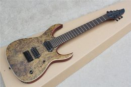 Hot Sale 7 Strings Electric Guitar with Reddish Brown Body and Burl Veneer and Can be Customized as Request
