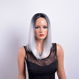 Arimika Silk Straight Long Negro Roots Gris De Plata Ombre Sintética De Pelo De Encaje Front Wigs Tones Barata Sintética Long Wave Peluca Resistente Al Calor desde tonelada de color fabricantes
