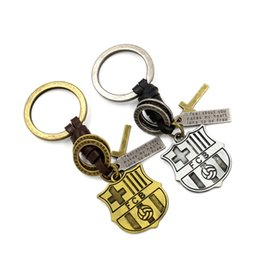 Wholesale FCB leather key chains Barcelona football fans Key Rings Small pendants Gift Souvenirs Key accessories Can be customized