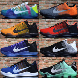Free shipping Cheap Sale kobe 11 Elite Men's Basketball Shoes for Top quality Black White XI KB Weaving Sports Training Sneakers Size 7-12