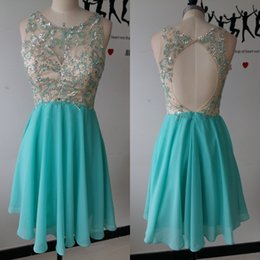 Wholesale 2017 Cheap Beads Short Prom Dresses Sheer Neck A Line Chiffon Homecoming Dresses Crytrals Backless Zipper Guest Dresses With Free Necklace