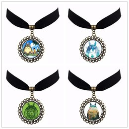 Wholesale Newest Cute Japanese Totoro Divergent Anime Choker Vintage Antique Bronze DIY Cabochon Velvet Choker Women Jewelry Gift NS44