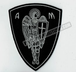 """New Arrival Christian Angel Warrior Shield Embroidered Iron On Patch Christian Religious Emblem 4"""" high Sew Applique Free Shipping"""