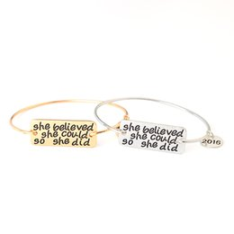Wholesale she believed she could so she did my story isn t over yet Hot Simple Bangle Circlet Gold Silver Wristband pulseras Bracelet
