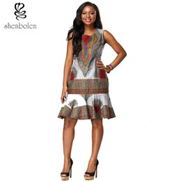 Shenbolen new design African printed dress Traditional sleeveless dresses for african women clothing free package mail