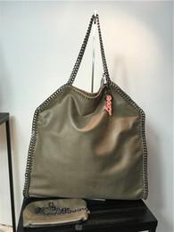 Chaîne grand sac en Ligne-Factory Falabella shaggy cerf 40cm Grande taille Real picture Exclusif qualité PVC 2 chaînes de luxe sac à main épaule grand sac shopping