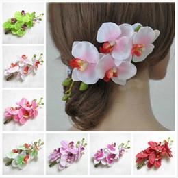Descuento las cabezas de flor clips Pinza de pelo de la flor de la simulación de las mujeres de las horquillas de la orquídea de la mariposa de las nuevas de la llegada de la dama de honor del pelo de la cabeza de la broche de pelo de la flor MF64