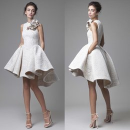 Vintage 2017 Short Lace Wedding Dresses Krikor Jabotian Jewel Sleeveless High Low Wedding Gowns A-Line Beach Bridal Gowns With Flower