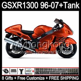 8gift Pour SUZUKI Hayabusa GSXR1300 96 97 98 99 00 01 orange brillant 13MY174 GSXR 1300 GSX-R1300 GSX R1300 02 03 04 05 06 07 TOP noir Carénage à partir de 98 gsxr carénage orange noir fournisseurs