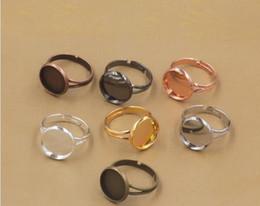 Wholesale La porción mezclada cupieron los MM los MM los MM los MM los MM los MM ajustes redondos del anillo de dedo base ajustable del anillo en blanco