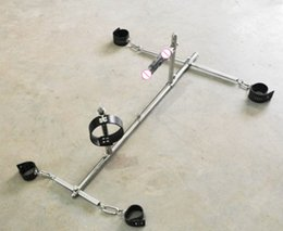 Wholesale Collar Shackles - Newest Unisex Stainless Steel Bondage frame dog slaves BDSM devices sets handcuffs shackles ankle cuffs neck collar dildo sex furniture toy
