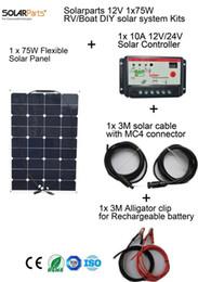 Solarparts 1x75W DIY RV / лодки / главная / комплекты Солнечной системы гибкие солнечные панели контроллера 10A кабель солнечного зарядного устройства сотового от Производители р.в. комплекты солнечных панелей