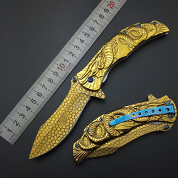 Gold Dragon Tactical knife Wilderness survival tools Spring steel Outdoor knives Hiking Camping Hunting knives blade Fly Dragon knife 440C