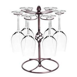 Descuento bastidores de almacenamiento de vino Artístico mostrador de cristal de vino titular, arte de hierro Stemware almacenamiento de almacenamiento de secado Hang 6 copa de vino, copa de vino titular de la Copa