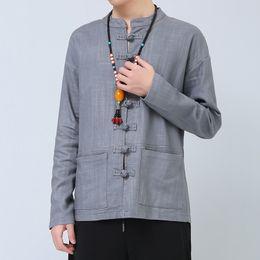 Wholesale Hecho a mano de algodón camisa de lino de negocios retro hombres de viento chino abrigo para el verano