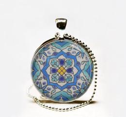 Wholesale Hot Sale Moroccan tile Necklace Spanish tile art pendant Glass cabochon Necklace Mediterranean ceramic tile design necklace jewelry